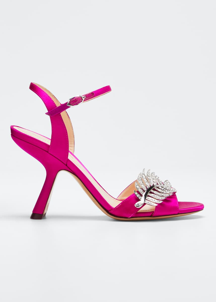 Nicholas Kirkwood Monstera Satin Sandals with Crystal Leaf