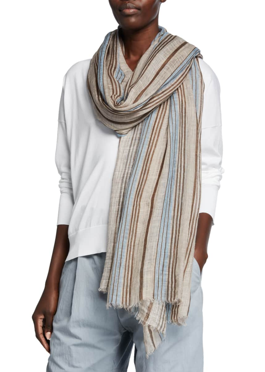 Brunello Cucinelli Striped Lurex Linen Scarf