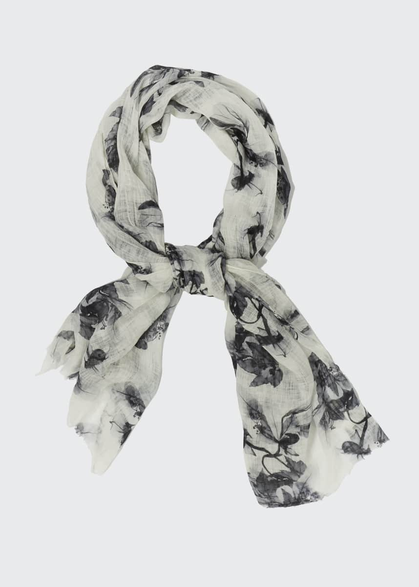 Brunello Cucinelli Floral Printed Linen Scarf