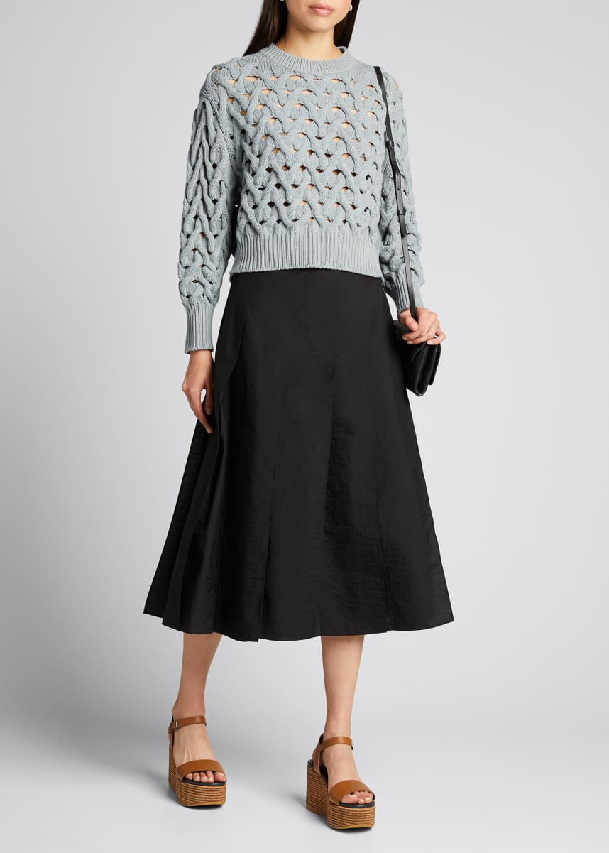 Brunello Cucinelli Techno Cotton Poplin Multi Paneled Midi Skirt