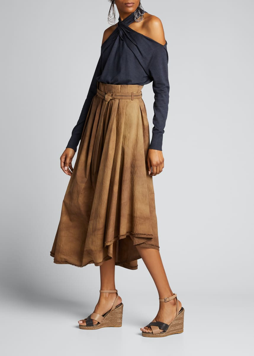 Brunello Cucinelli Tie-Dyed Belted Asymmetric Midi Skirt