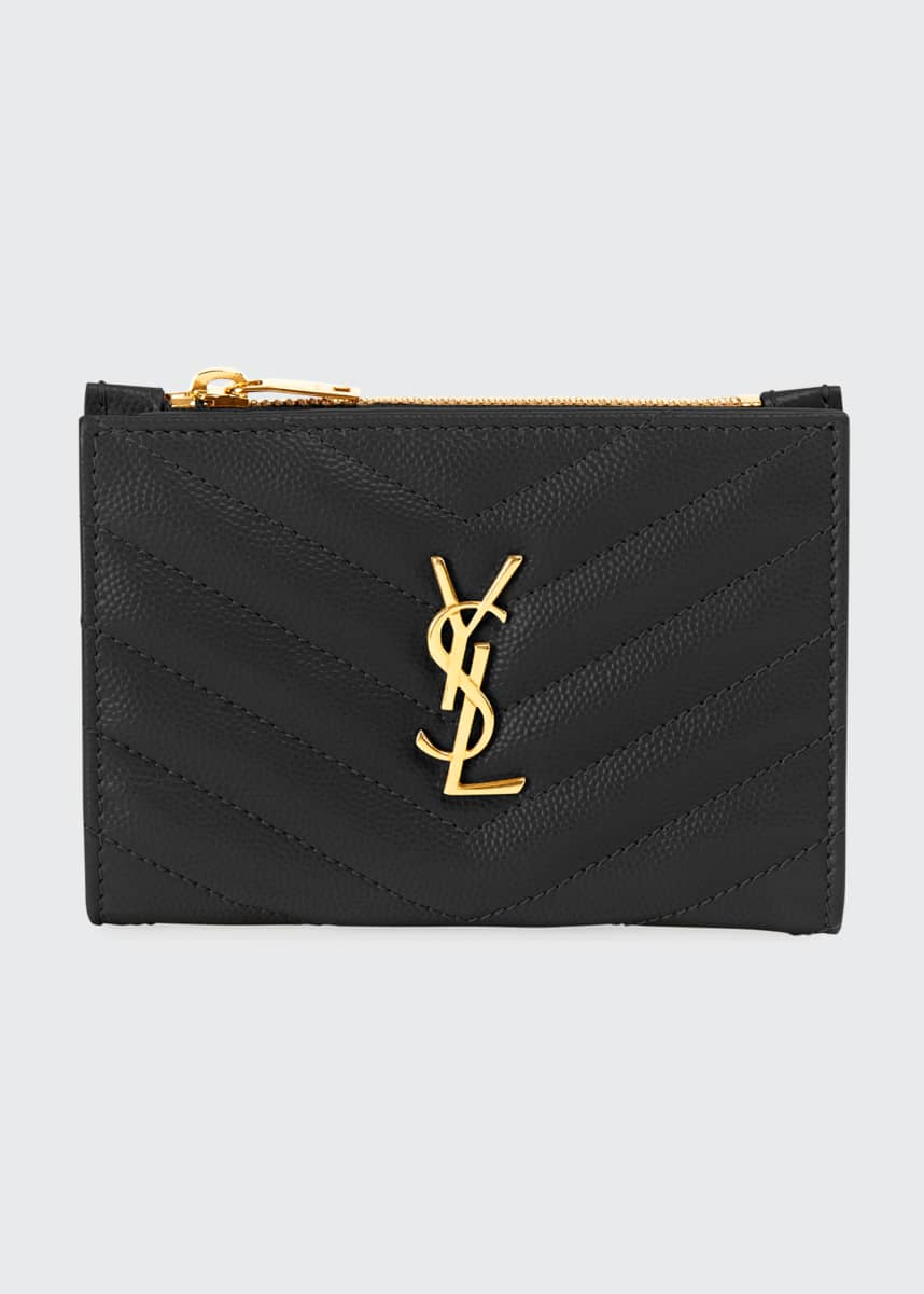 Saint Laurent YSL Monogram Slim Leather Wallet