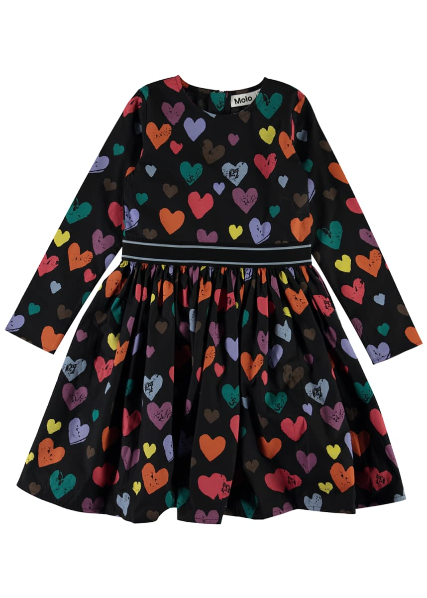 Molo Girl's Christin Long-Sleeve Heart Print Dress, Size 3T-14