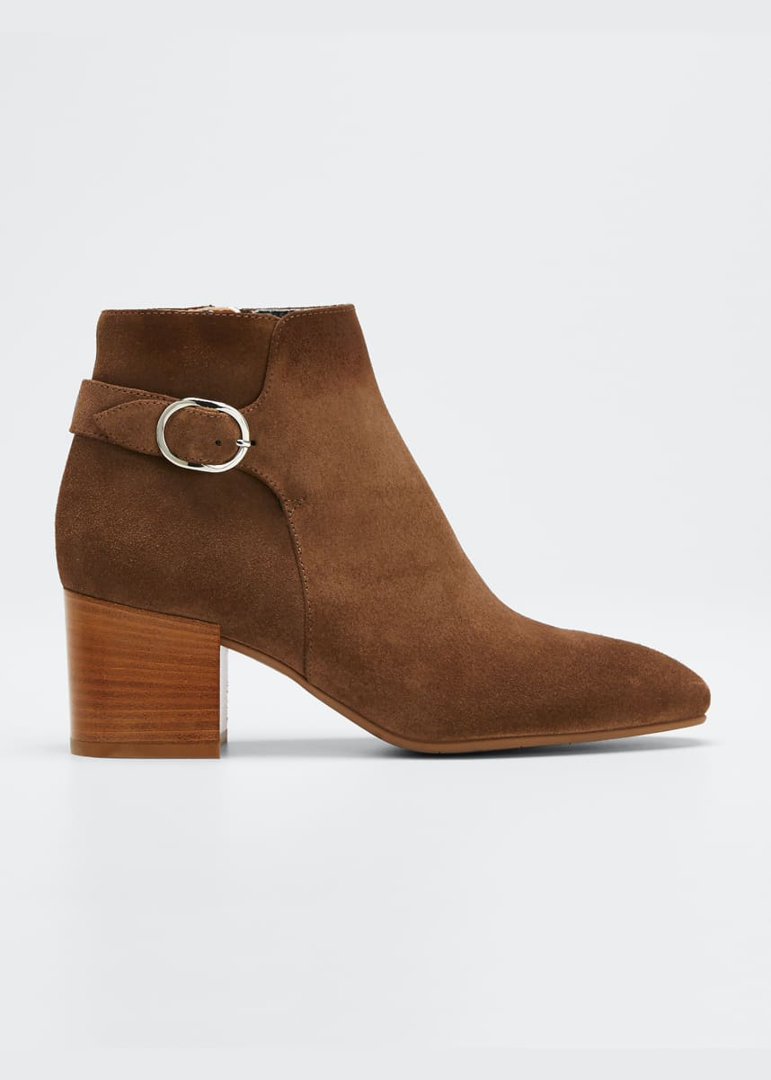 Aquatalia Tacey Suede Buckle Ankle Booties