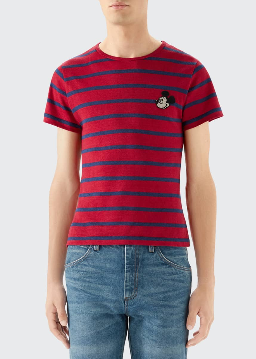 Gucci Men's x Disney Mickey Mouse-Patch Striped T-Shirt