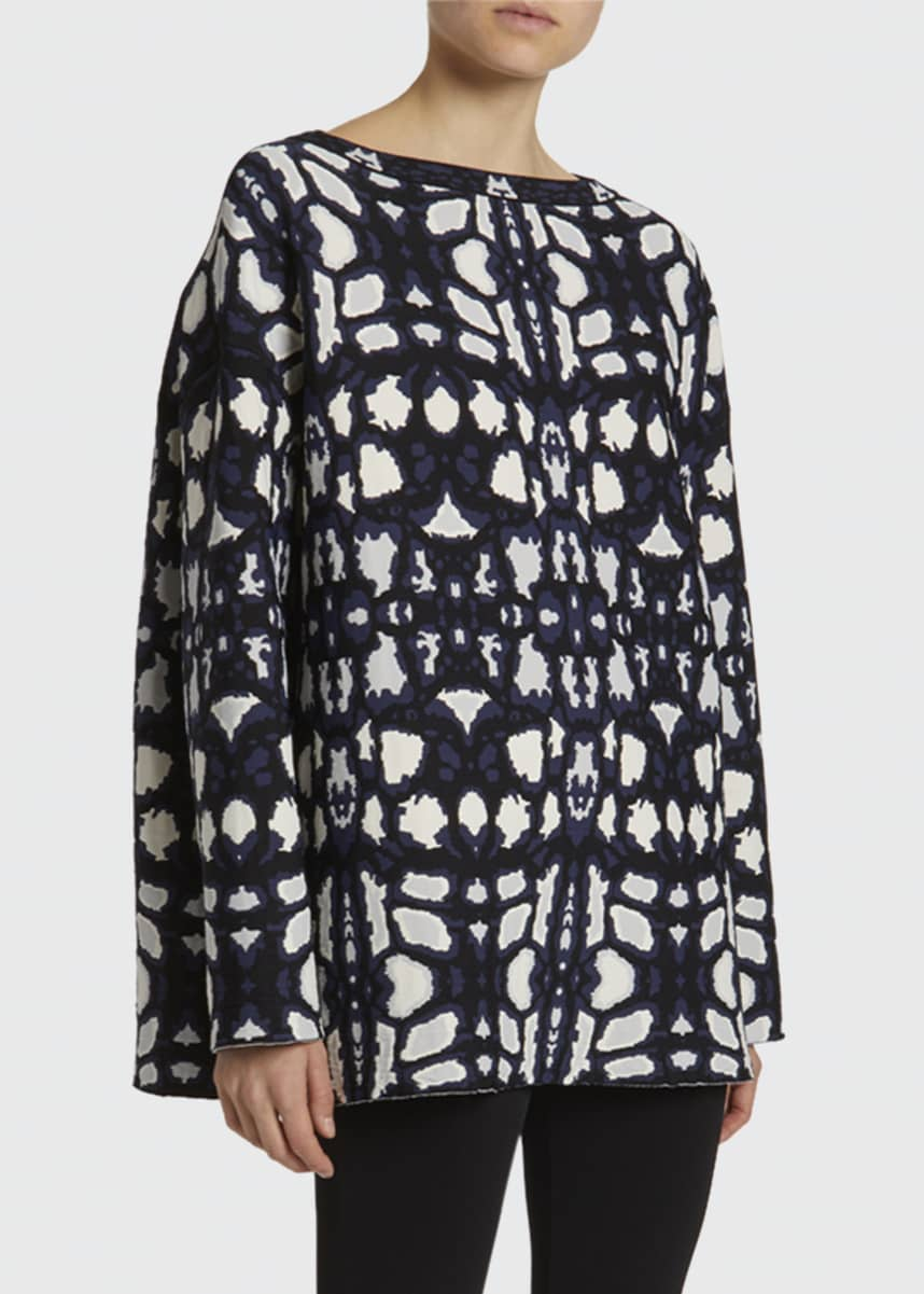 ALAIA Guepard Print Oversized Long-Sleeve Top