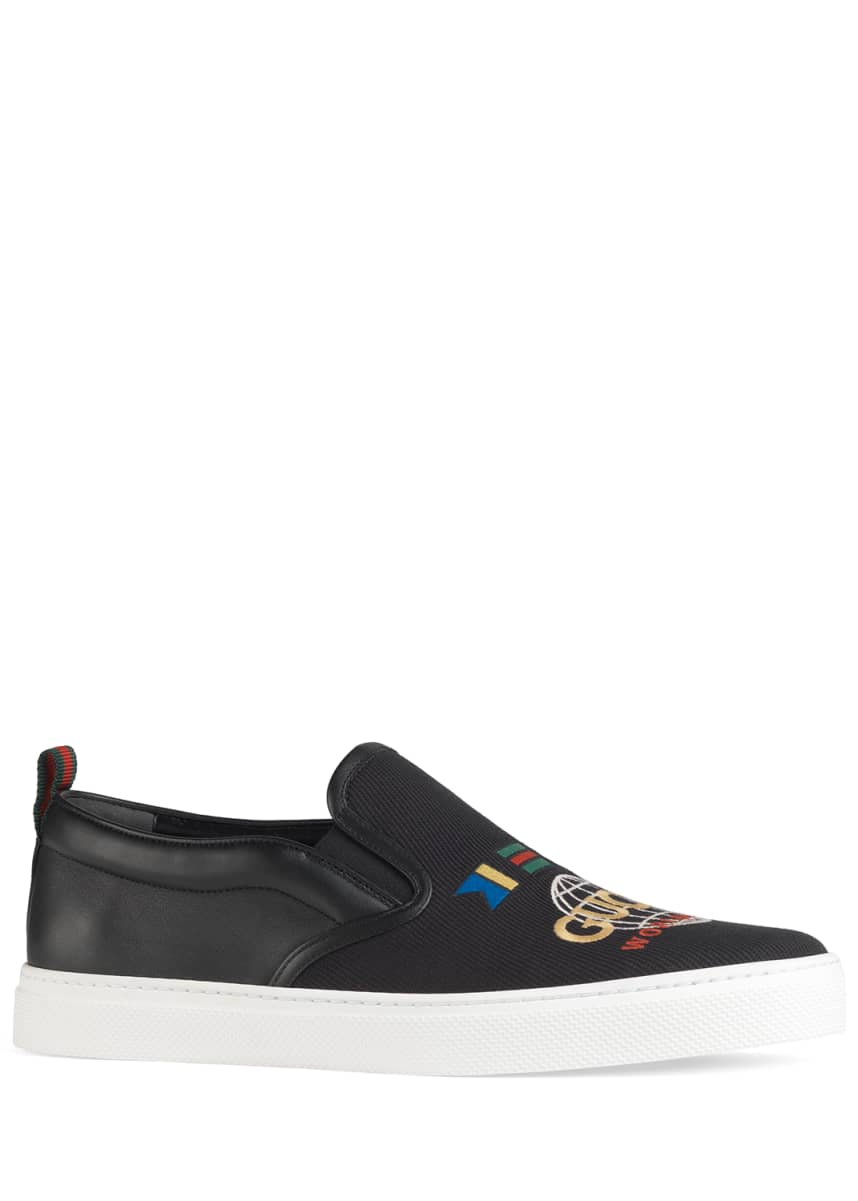 Gucci Men's Dublin Worldwide Canvas/Leather Slip-On Sneakers