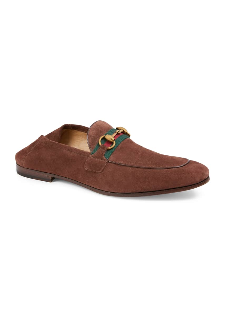 Gucci Men's Fold-Down Suede Web Horsebit Loafers
