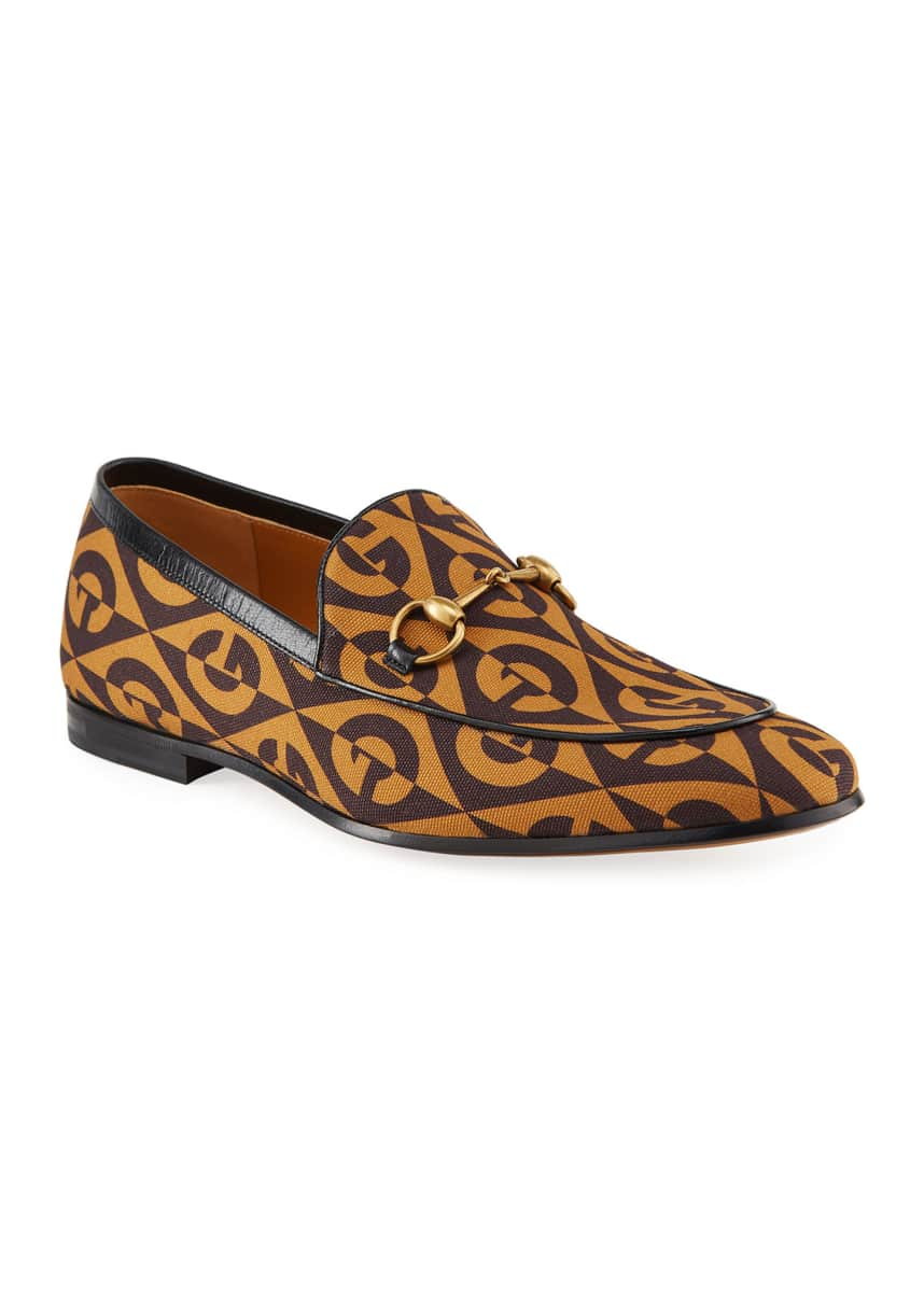 Gucci Men's New Jordaan Rhombus Loafers