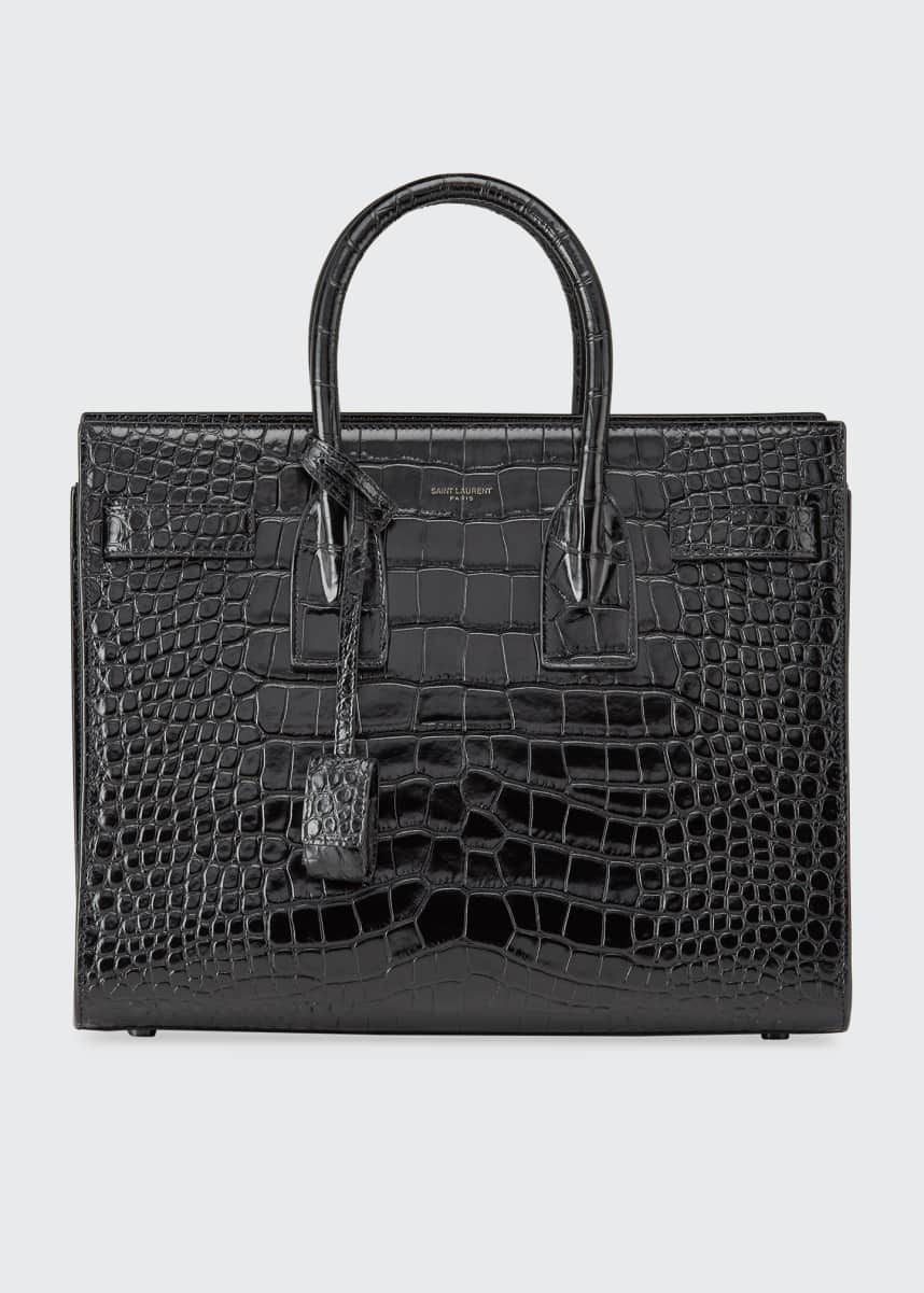 Saint Laurent Sac de Jour Small Shiny Croco Effect Satchel Bag