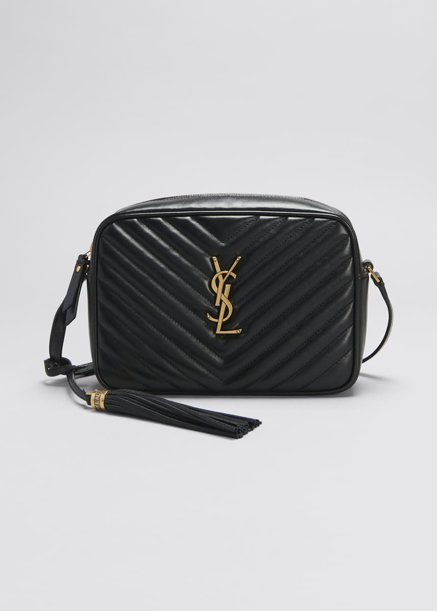 Saint Laurent Lou Medium YSL Monogram Calfskin Camera Crossbody Bag - Aged Silver Hardware