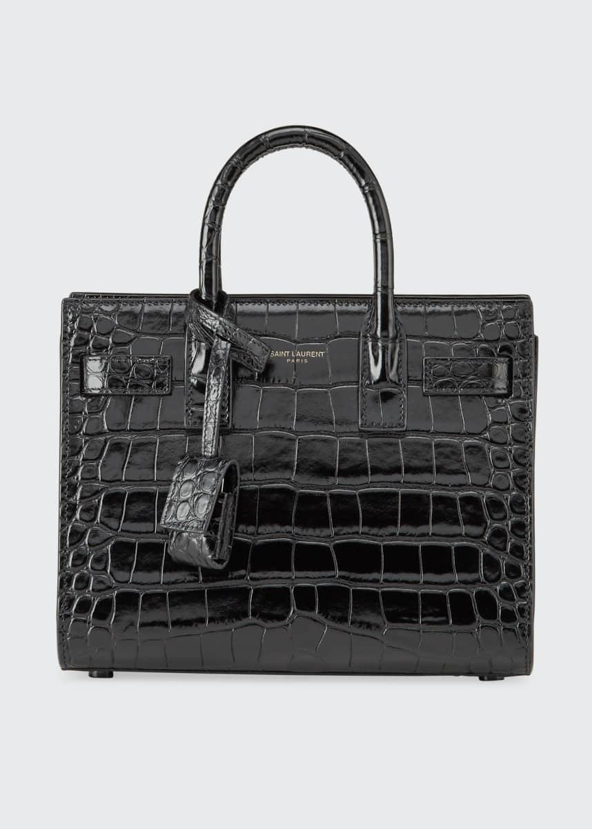 Saint Laurent Sac de Jour Nano Shiny Croco Effect Satchel Bag