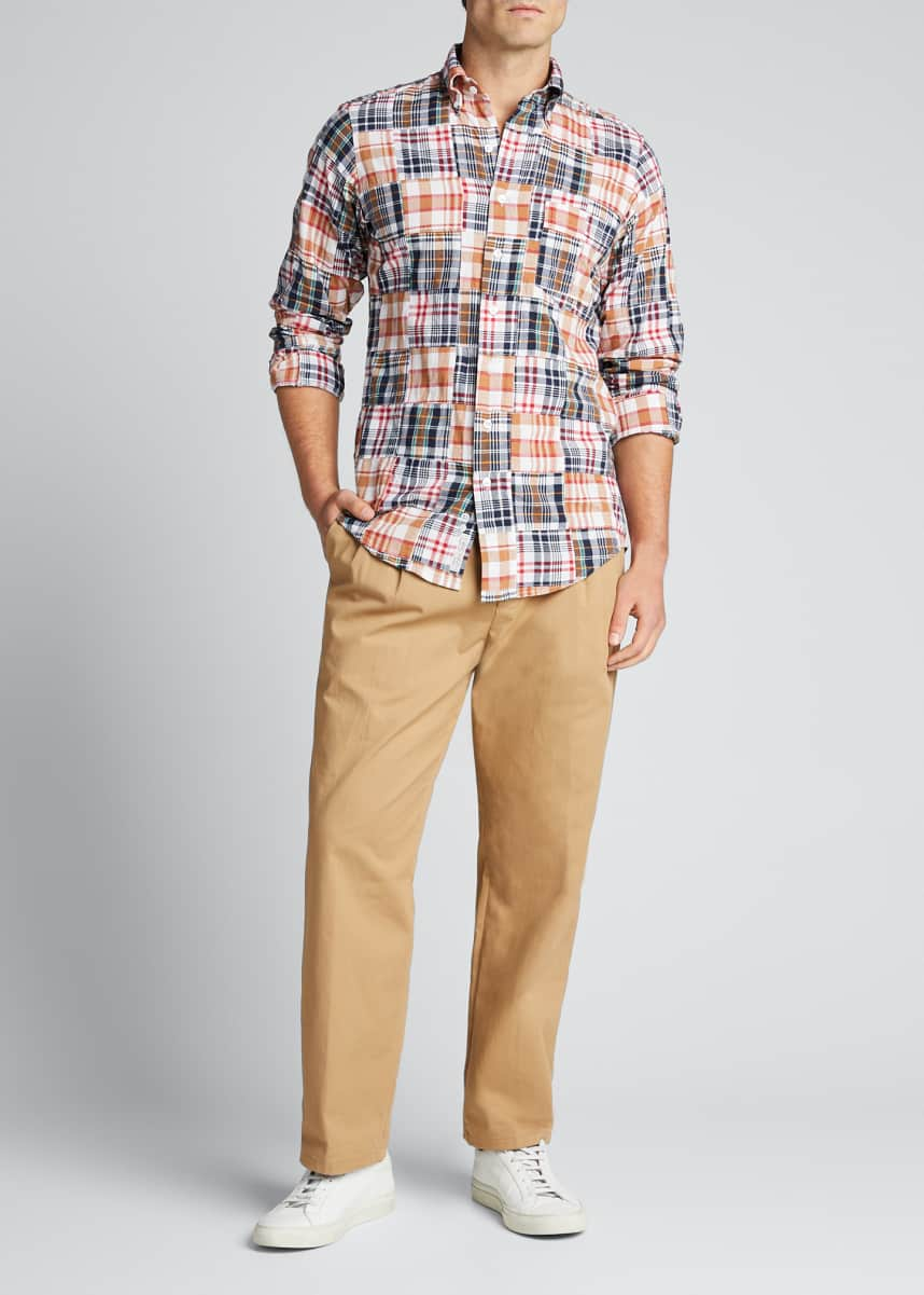 Drake's Men's Patchwork Madras Plaid Sport Shirt