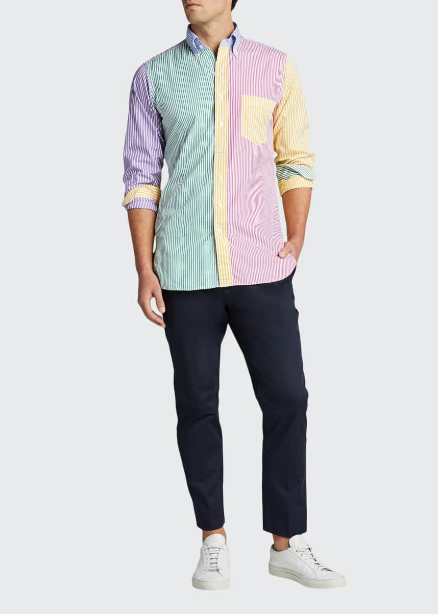 Drake's Men's Multicolor Striped Sport Shirt