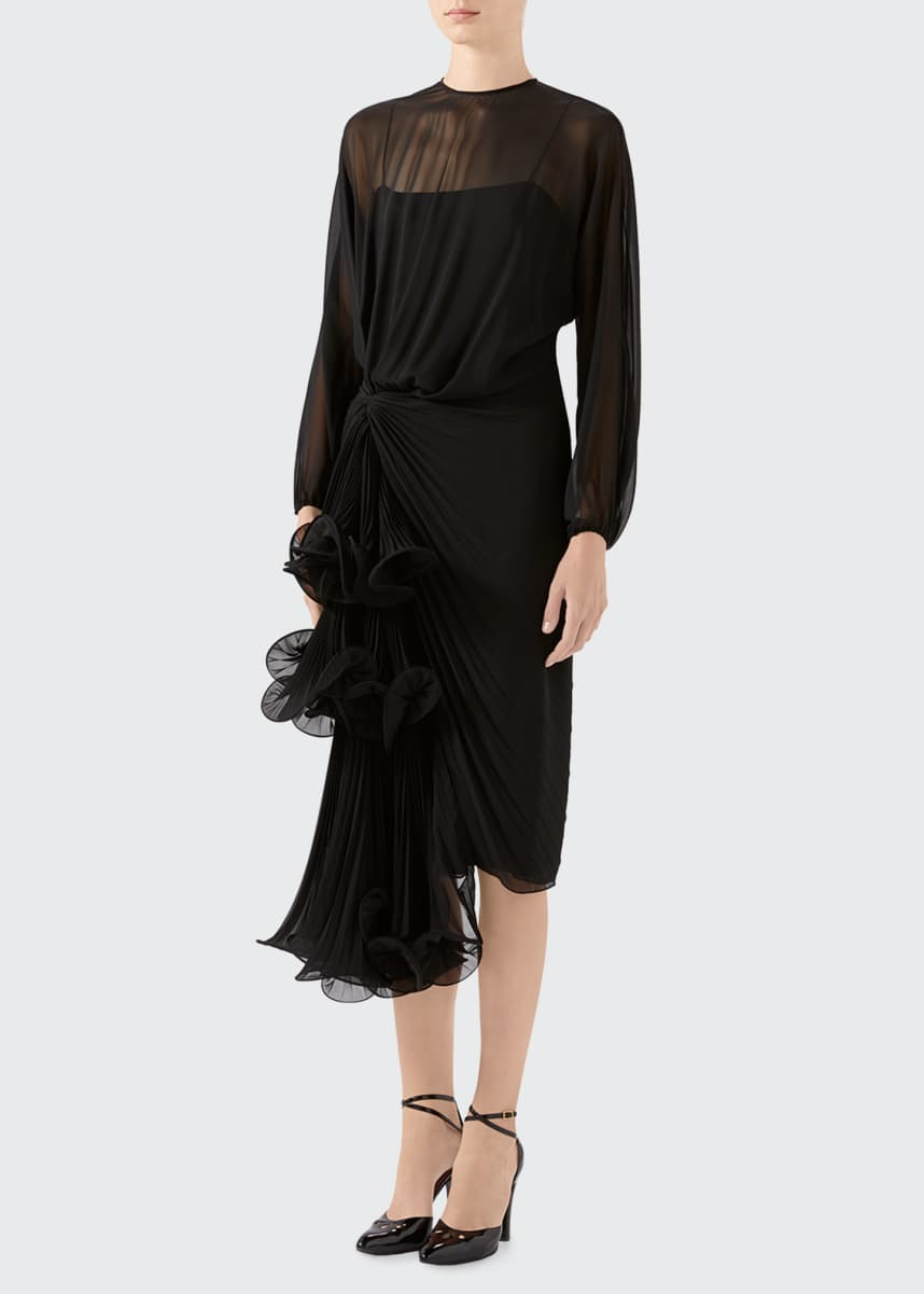 Gucci Silk Georgette Long-Sleeve Dress