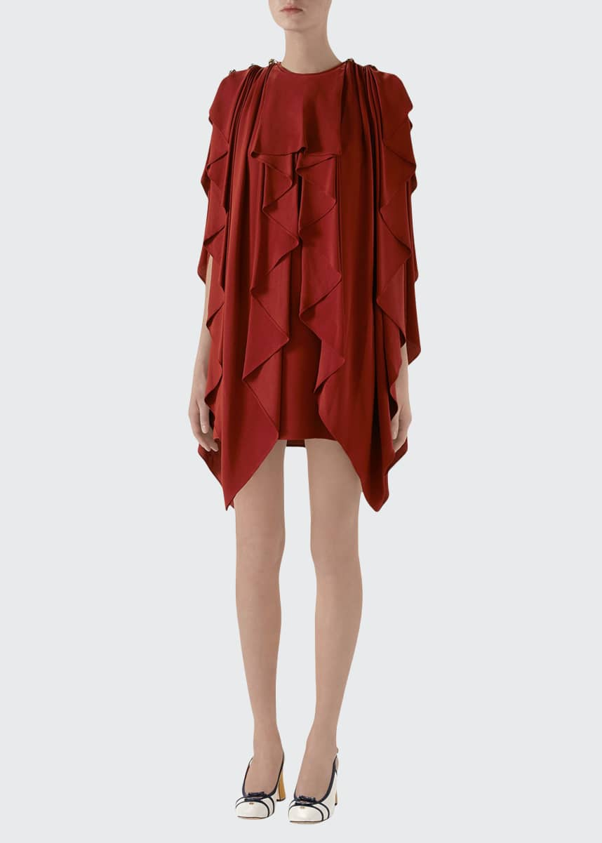 Gucci Ruffled Silk Sable Dress
