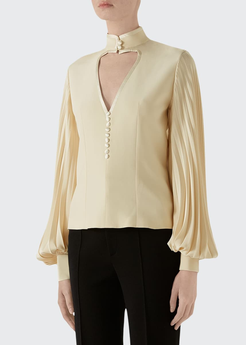 Gucci Long-Sleeve Silk Blouse