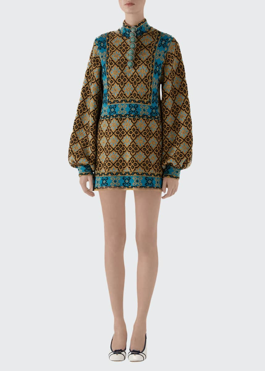 Gucci Full-Sleeve High-Neck Wool Dress with Enameled Buttons