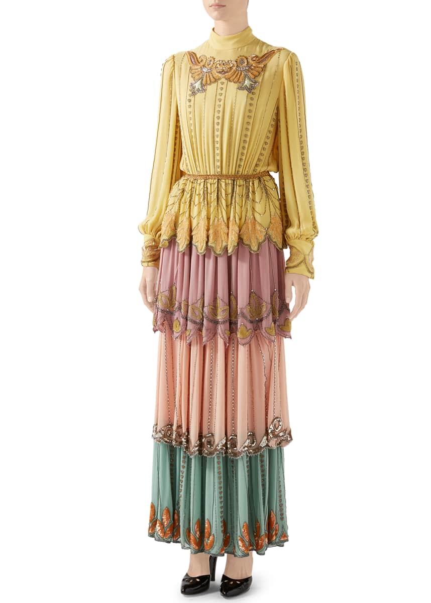 Gucci Long-Sleeve Tiered Embroidered Silk Colorblock Gown
