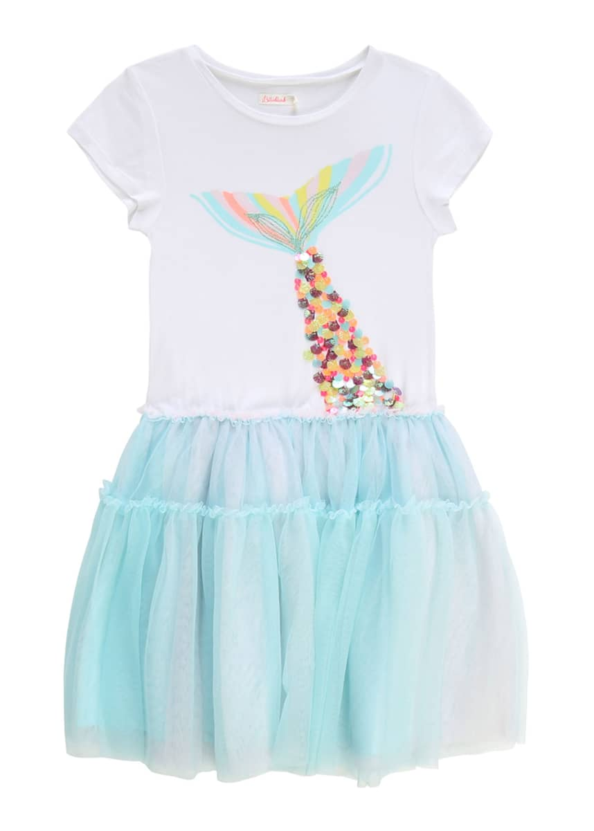 Billieblush Girl's Jersey Tulle Dress w/ Mermaid Tail Graphic, Size 4-10