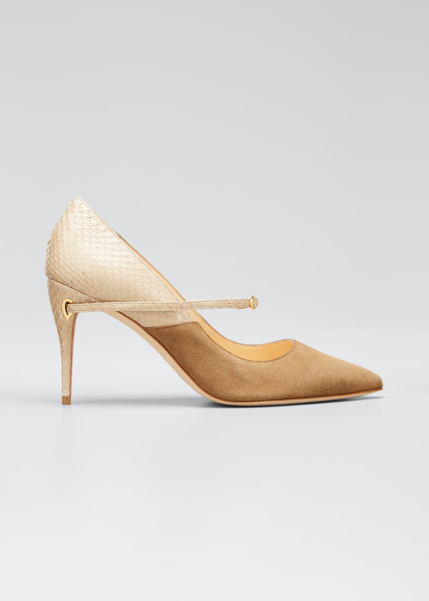 Jennifer Chamandi Lorenzo Suede & Snakeskin Point-Toe Pumps