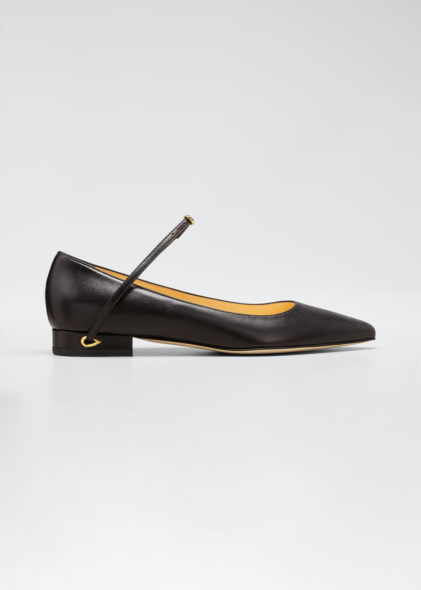 Jennifer Chamandi Lorenzo Leather Point-Toe Flats