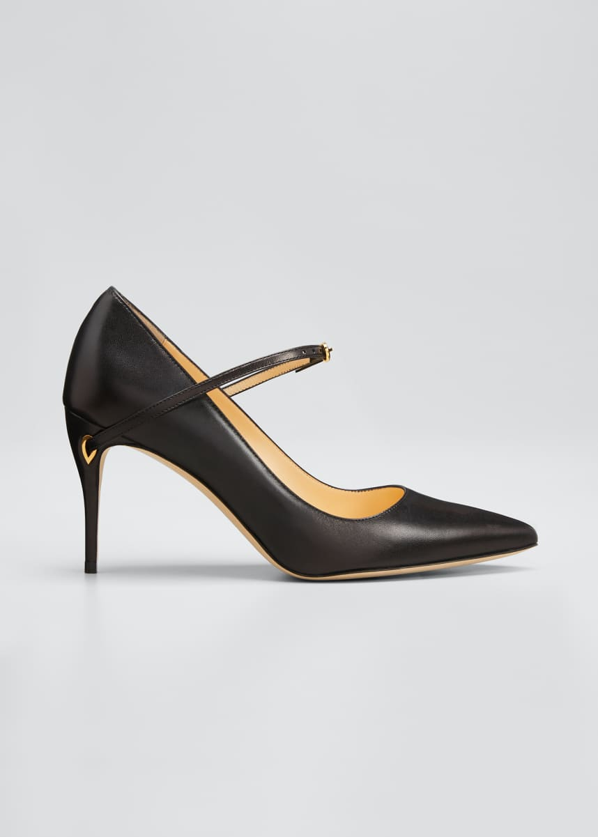 Jennifer Chamandi Lorenzo Leather Point-Toe Pumps
