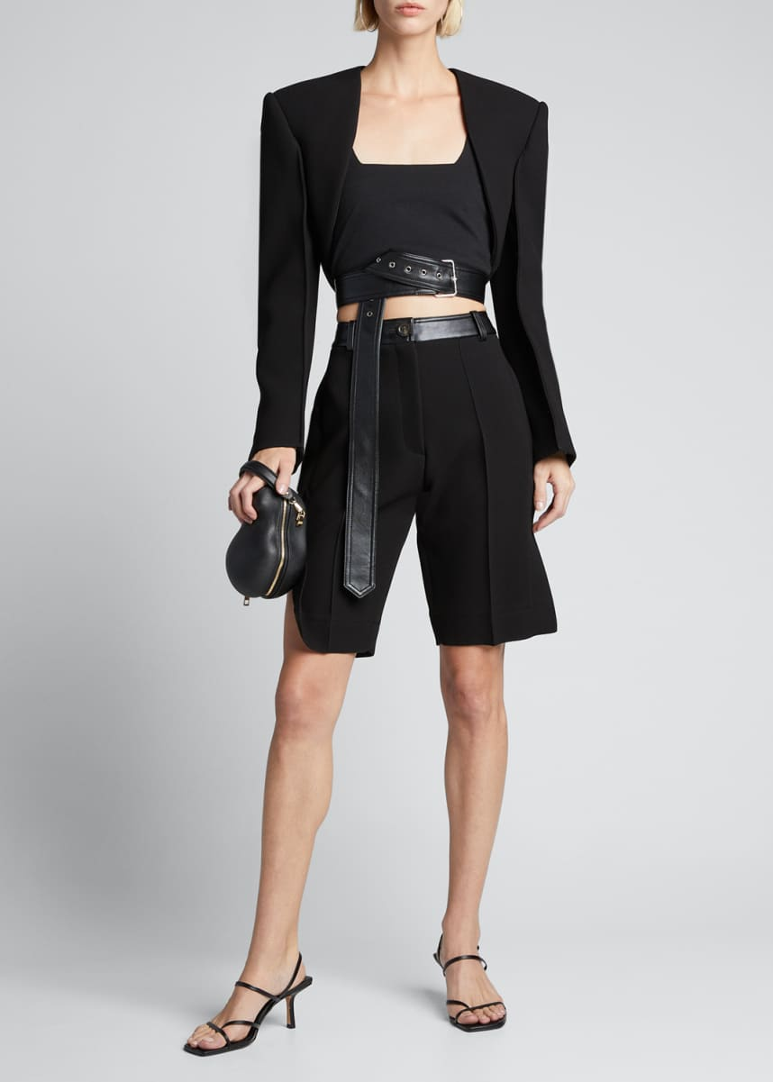 Peter Do Crepe Thigh-Slit Shorts