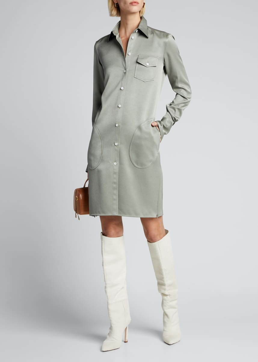Peter Do Sateen Fitted Classic Shirtdress