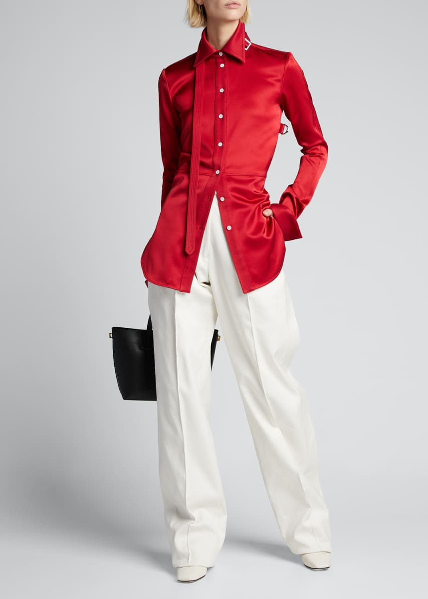 Peter Do Paneled Stretch Satin Shirt