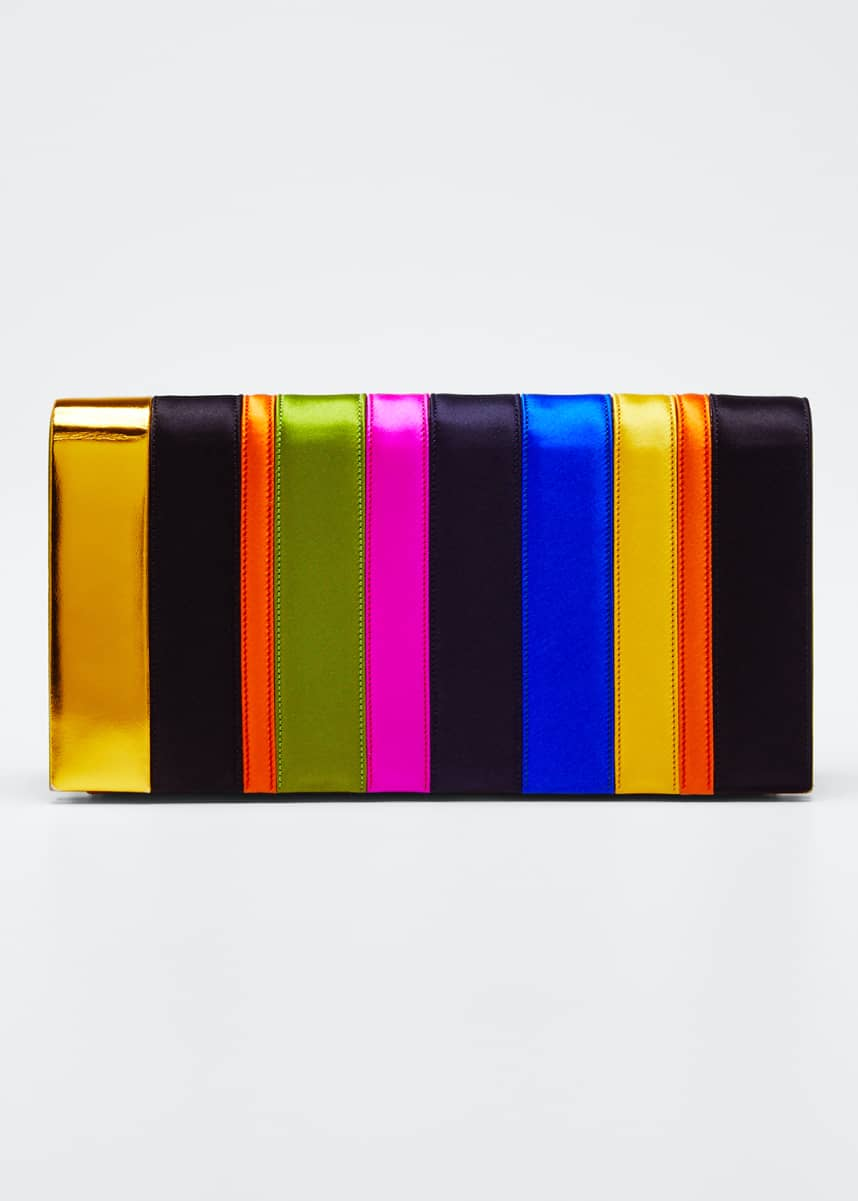 PELLEGRINO Nina Rainbow Satin Clutch Bag