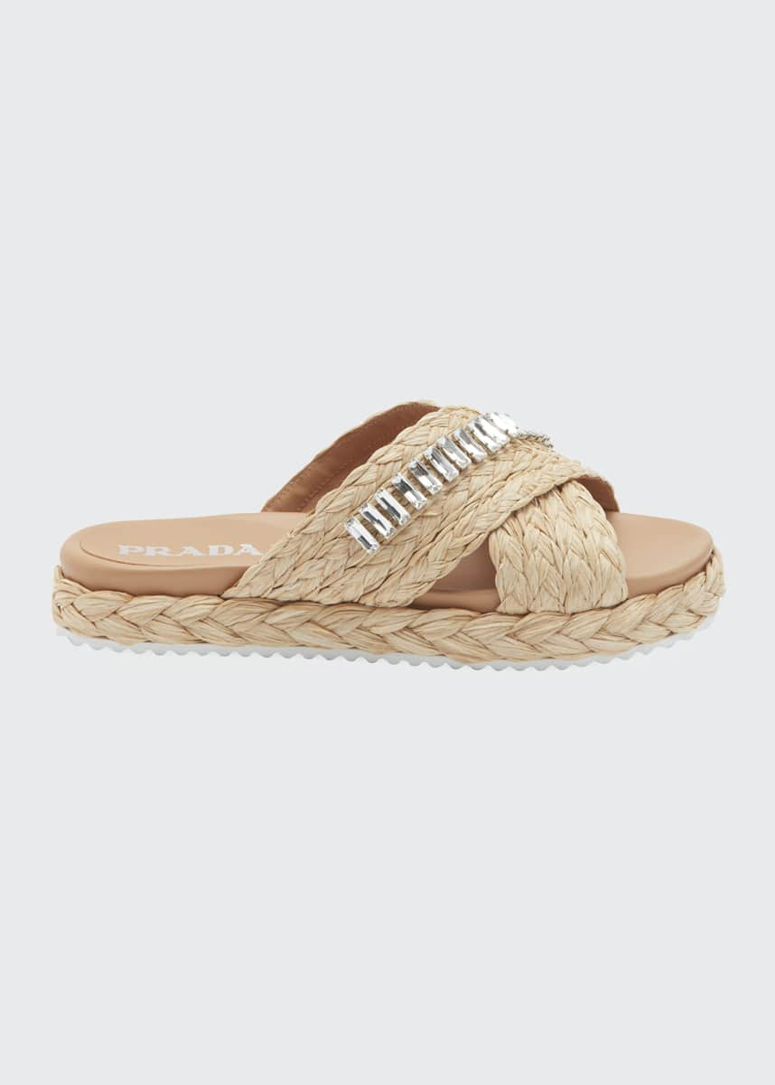 Prada Flat Jeweled Raffia Slide Sandals