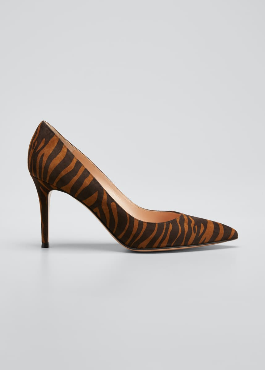 Gianvito Rossi Gianvito 85mm Zebra Suede Point-Toe Pumps