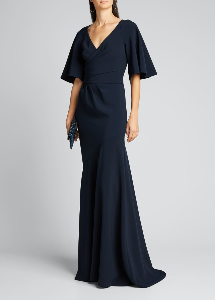 Theia Elbow-Sleeve Wrap-Front Stretch Crepe Gown