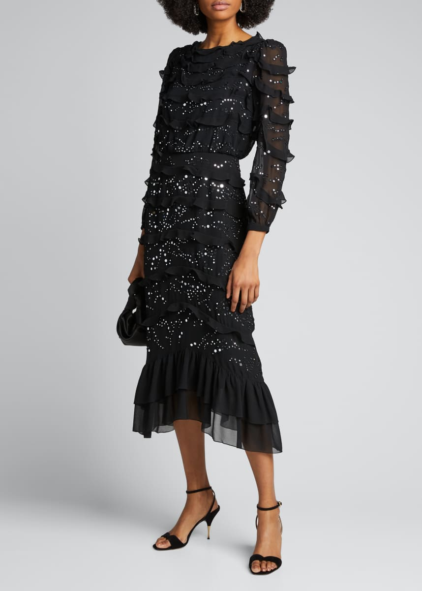 Saloni Isa Tiered Silk Embellished Dress