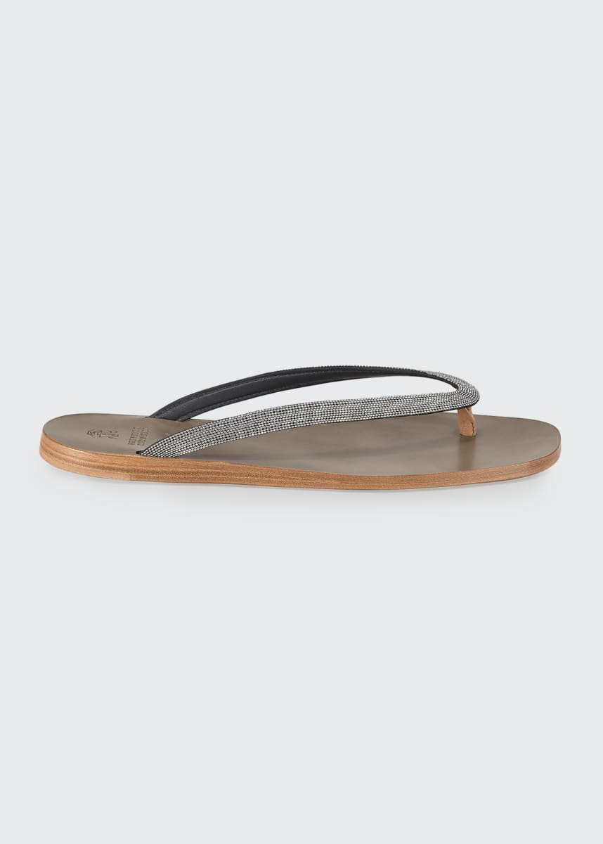 Brunello Cucinelli Flat Monili Thong Sandals