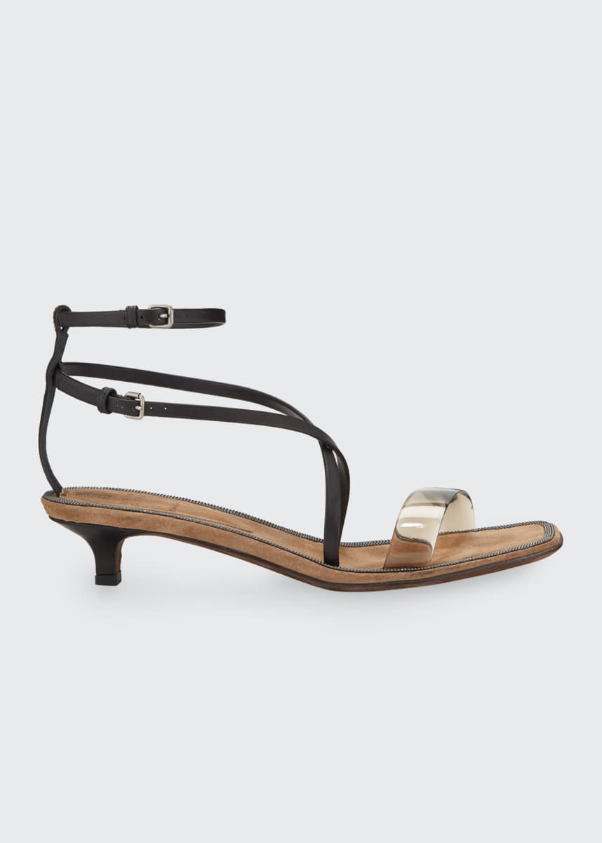 Brunello Cucinelli PVC Kitten-Heel Sandals