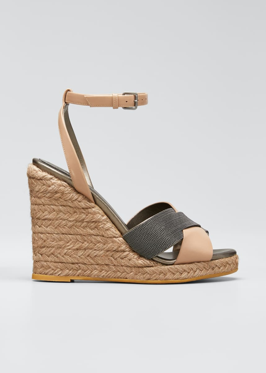 Brunello Cucinelli Monili Leather Wedge Espadrille Sandals