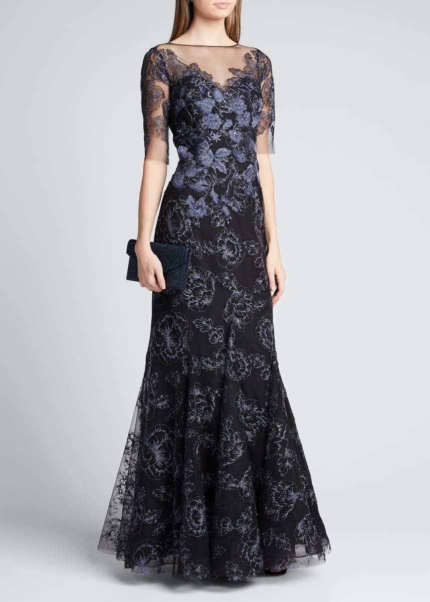 Rickie Freeman for Teri Jon Embroidered Tulle Mermaid Gown w/ Illusion-Neck