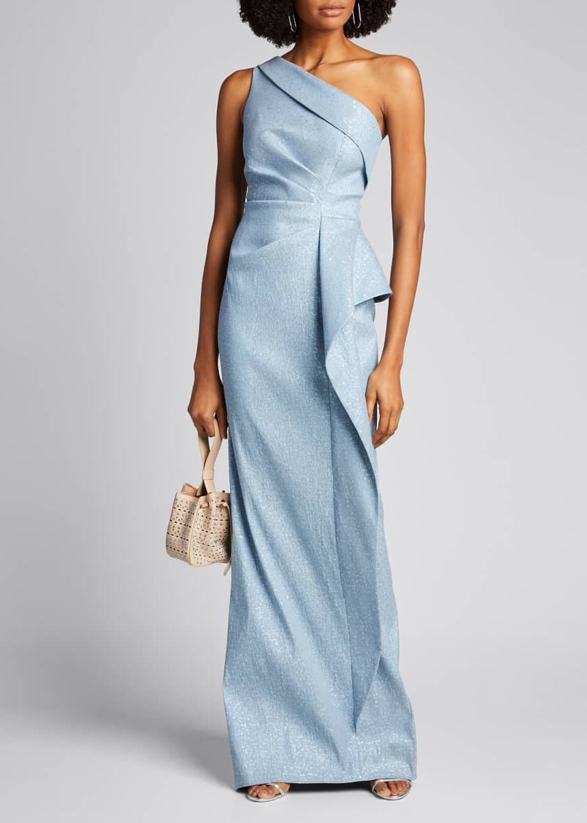 Rickie Freeman for Teri Jon One-Shoulder Draped-Skirt Column Gown