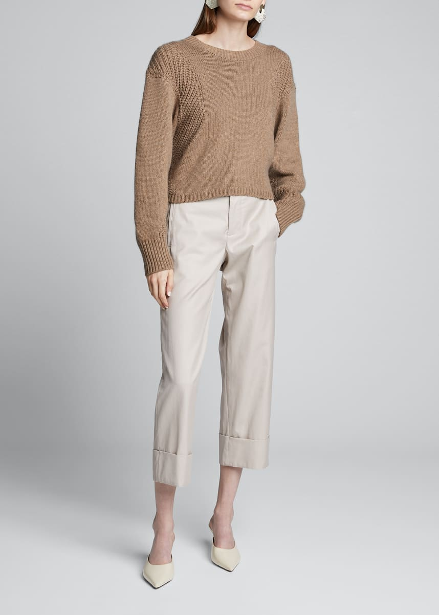 Loulou Studio Cotton-Cashmere Cropped Dolman-Sleeve Sweater