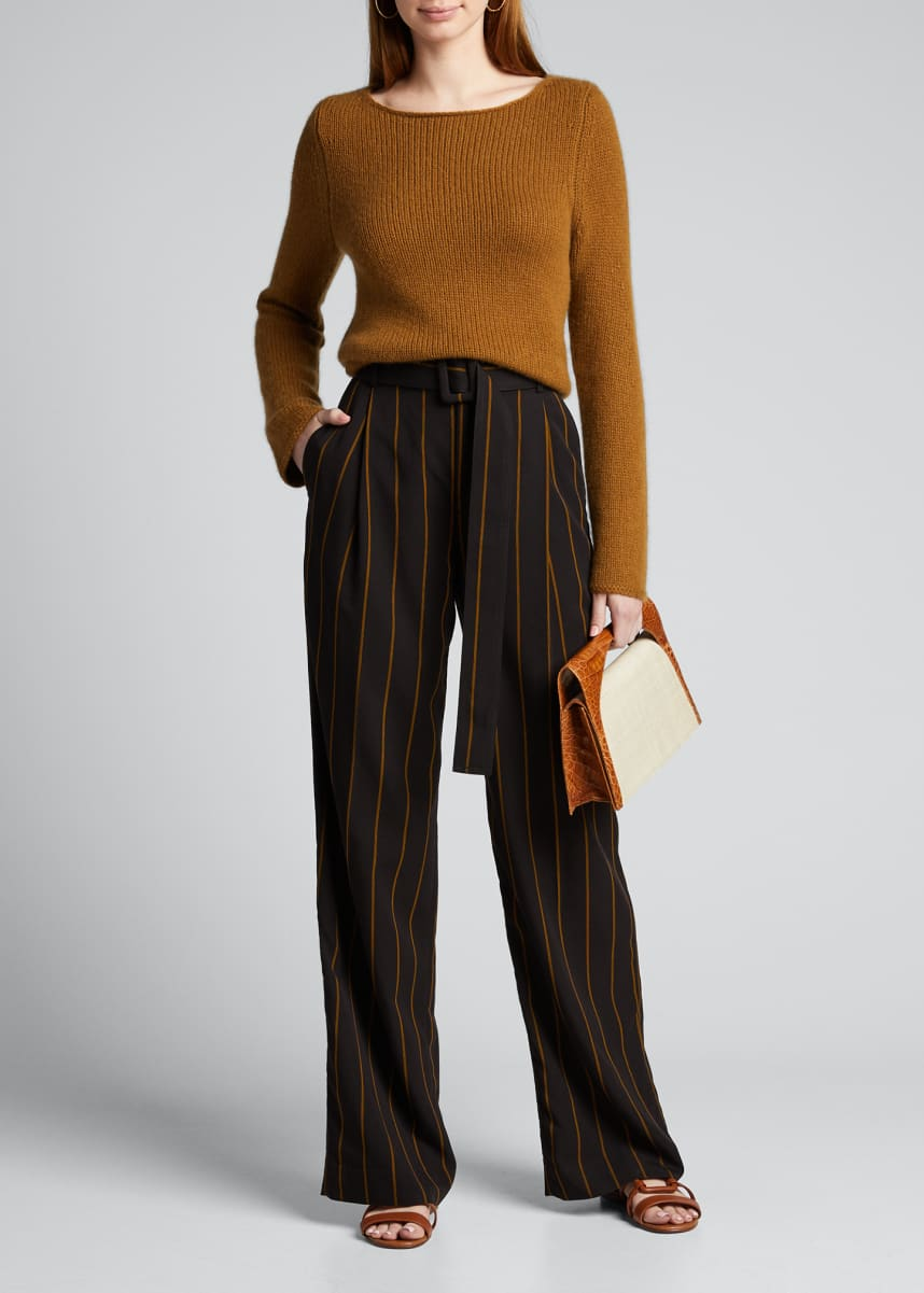 Vince Belted Wide-Leg Stripe Pants
