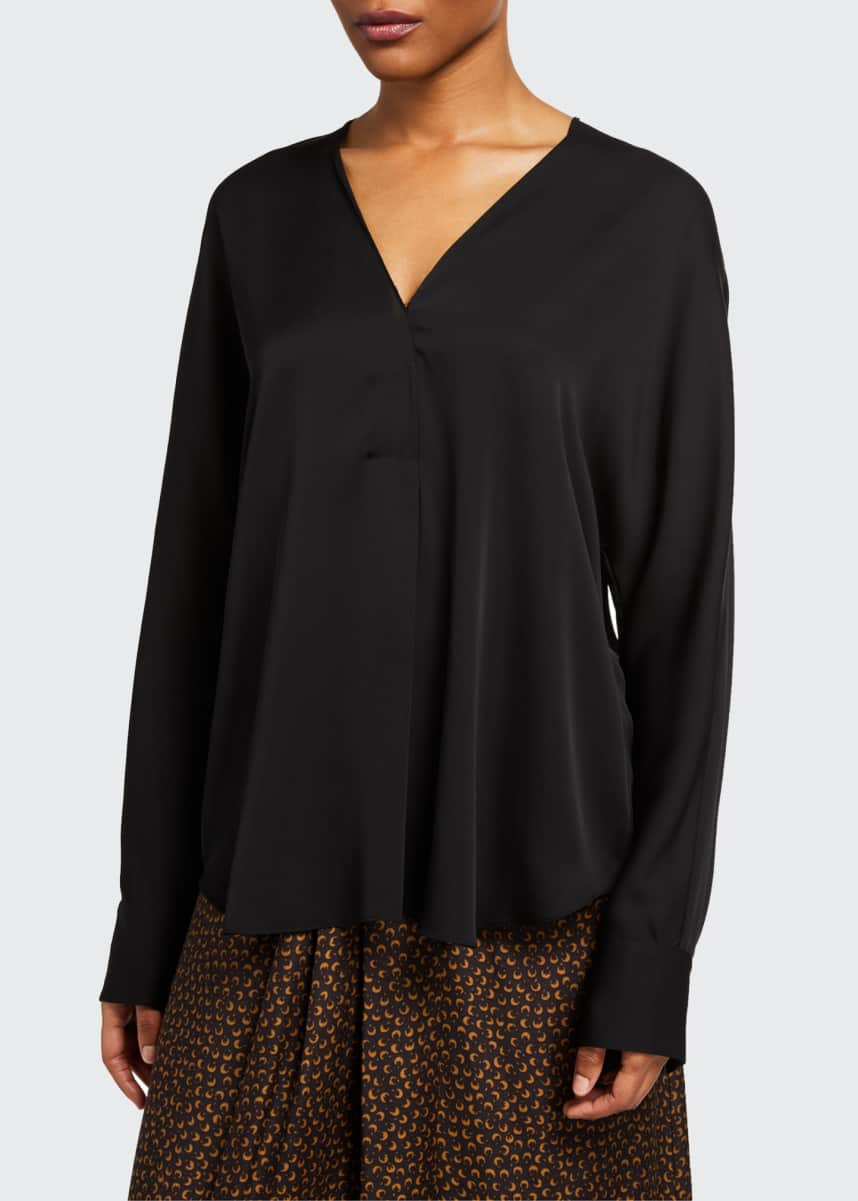 Vince V-Neck Long-Sleeve Stretch-Silk Popover
