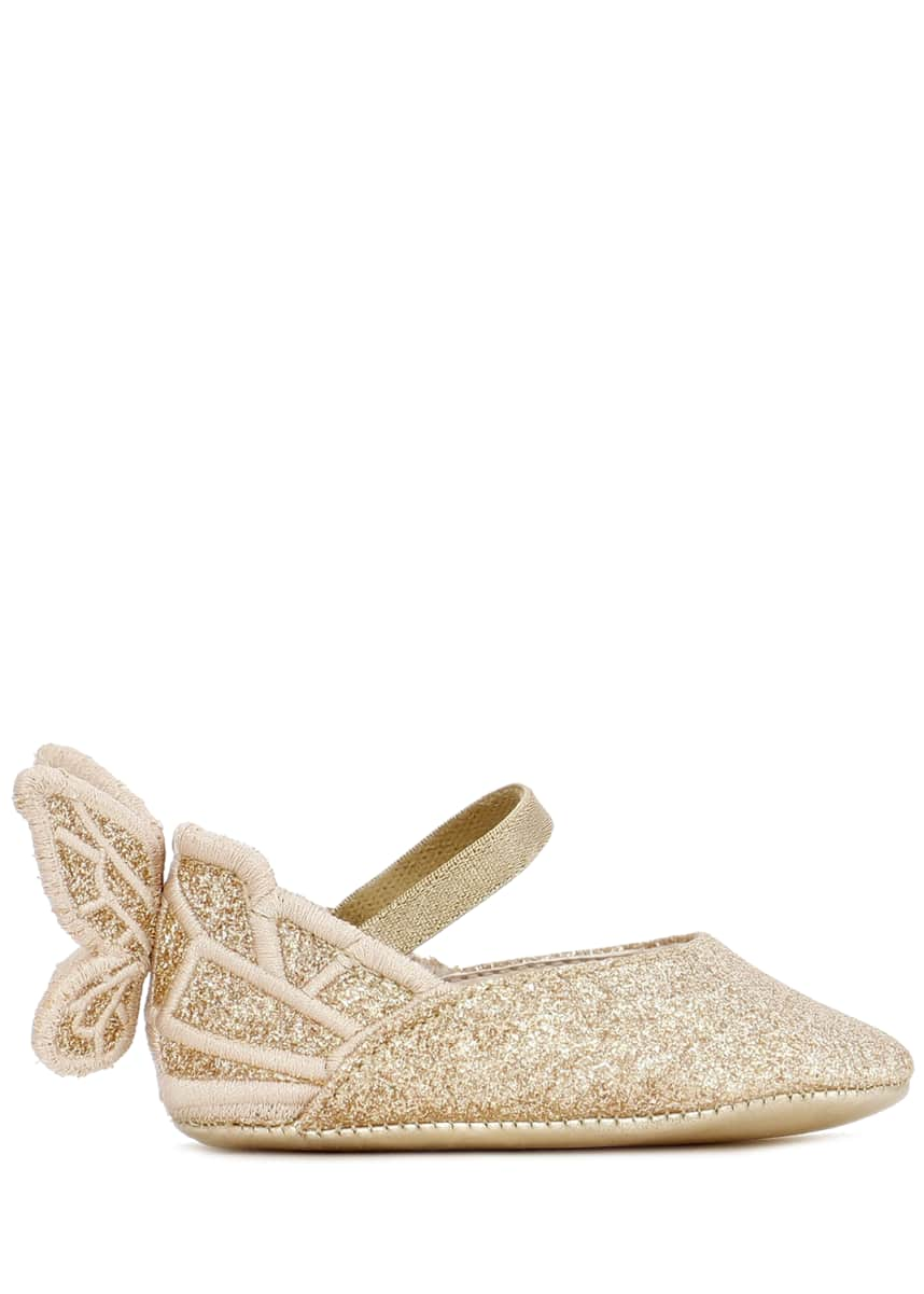 Sophia Webster Chiara Glitter Embroidered Butterfly-Wing Flats, Baby