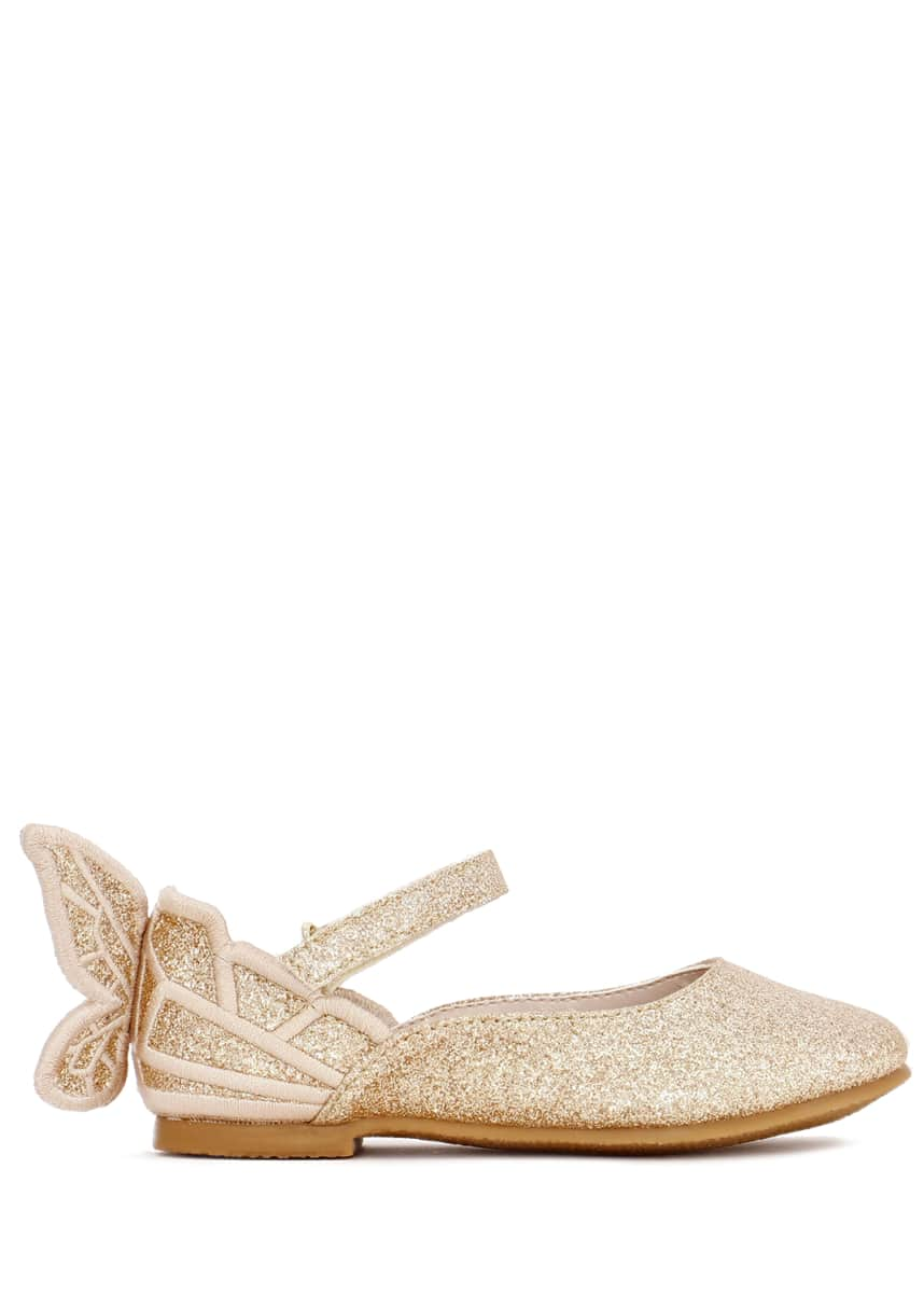 Sophia Webster Chiara Fine Glitter Butterfly Mary Jane Flats, Baby/Toddler