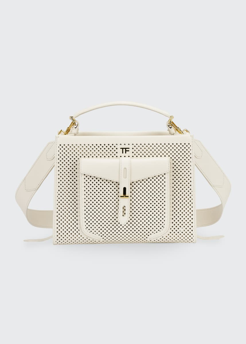 TOM FORD T Twist Perforated Top Handle Bag