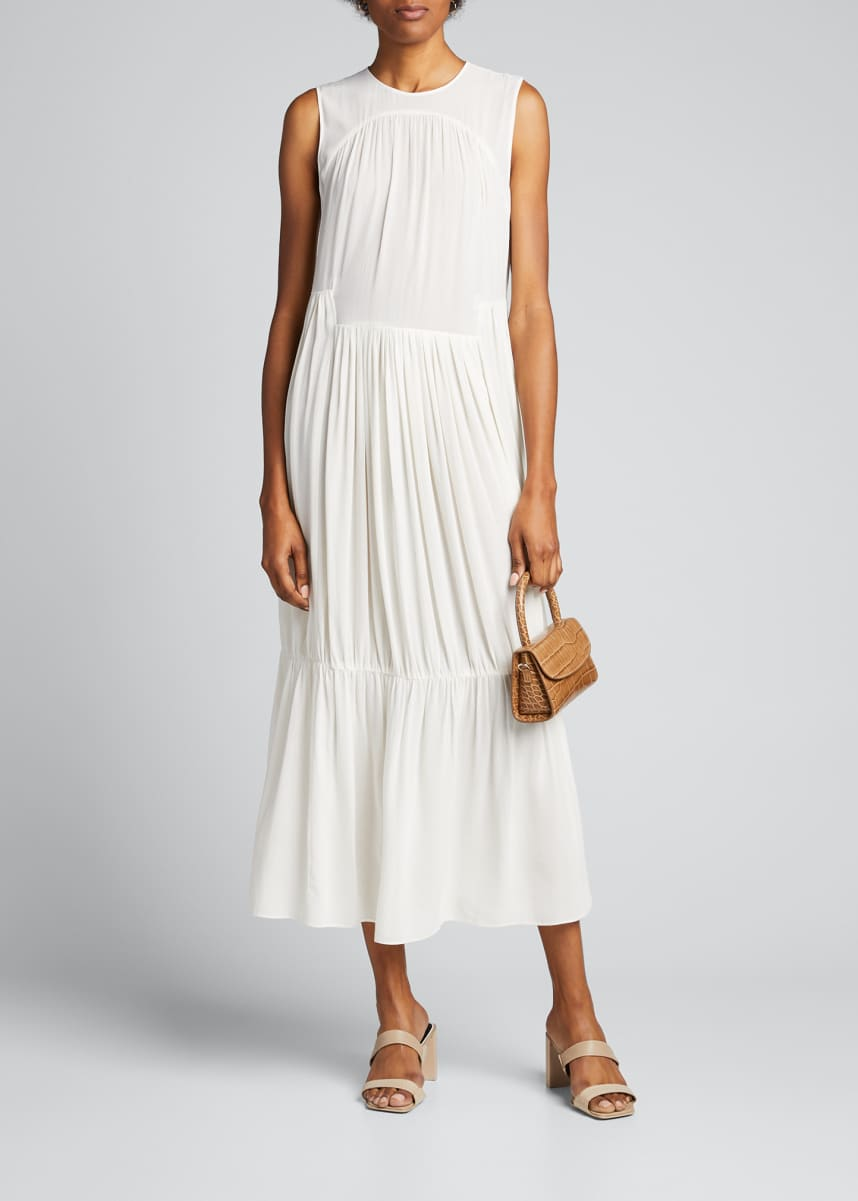 Vince Shirred Sleeveless Tiered Dress