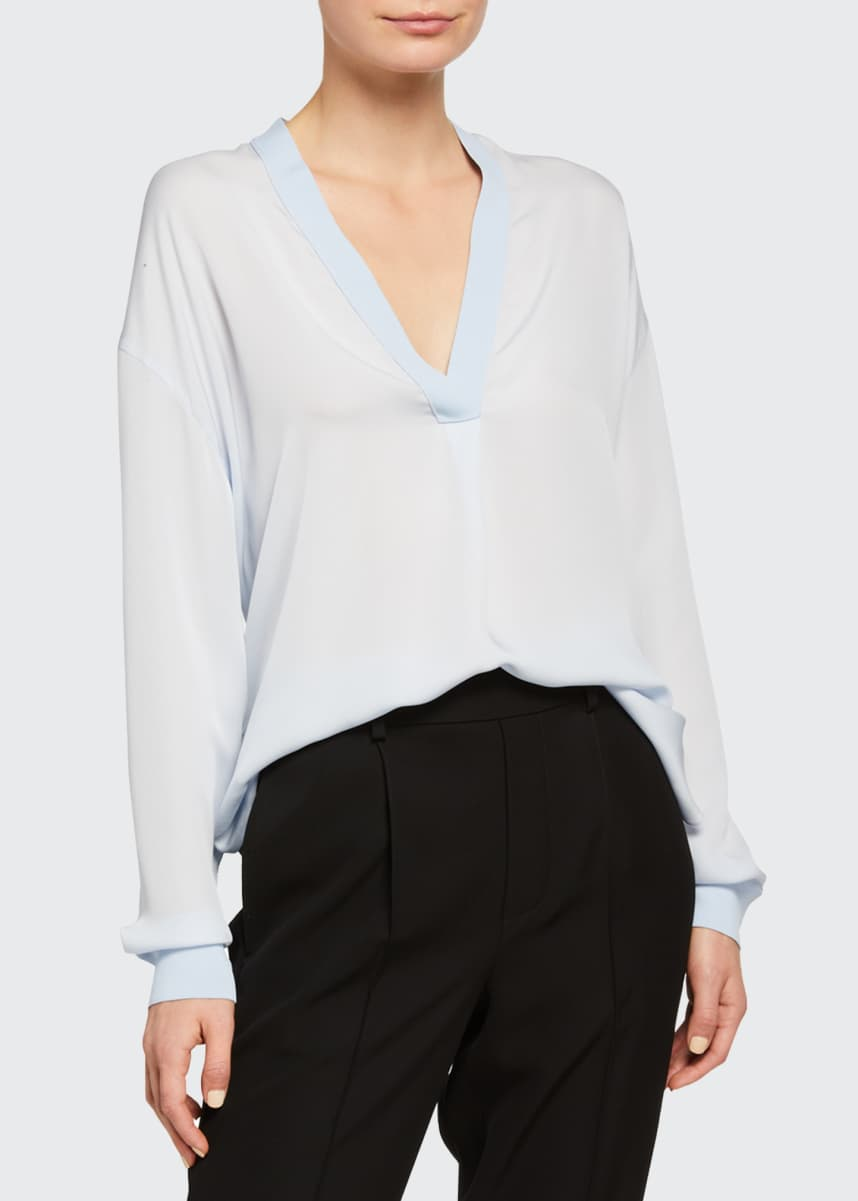 Vince Long-Sleeve Rib Trim V-Neck Top