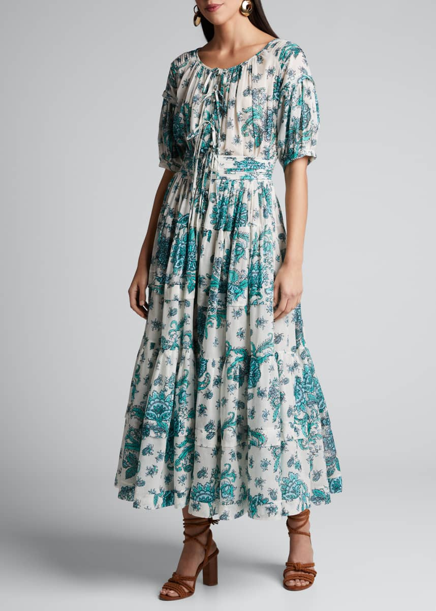 Evi Grintela Rosemary Floral-Print Tiered Poplin Dress