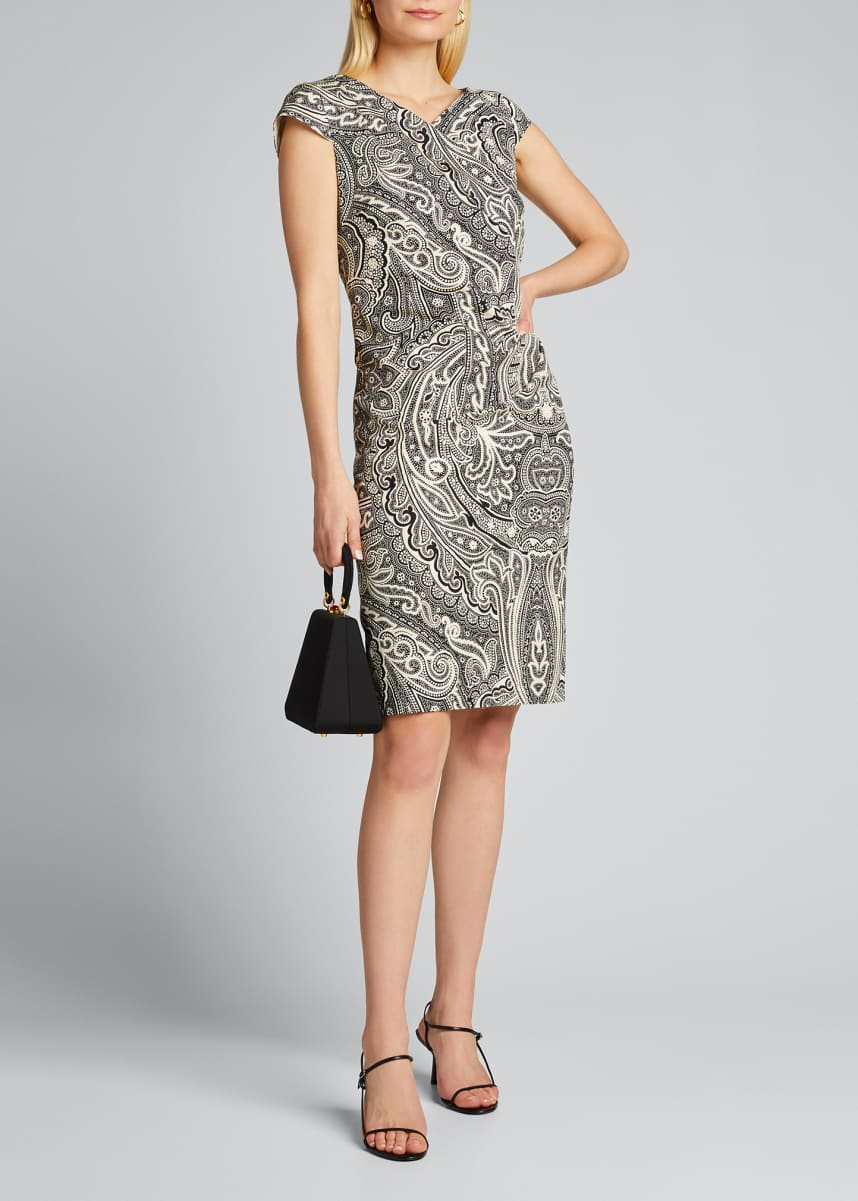 Maxmara Vosci Paisley-Print Cap-Sleeve Dress